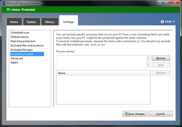 Microsoft Security Essentials - Excluded Process #1