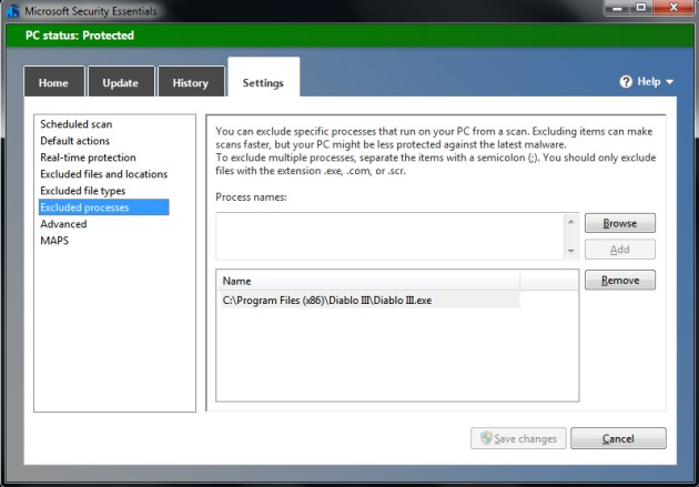 Microsoft Security Essentials - Excluded Process #2